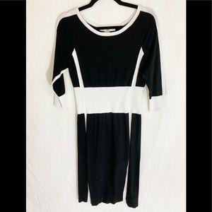 ⭐️ Boston Proper Black White Knit Dress M
